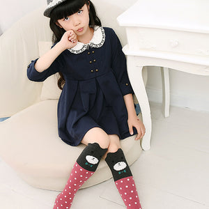 Kids Girls Cute Cartoon Pattern Tube Socks Fashion Cotton Over Knee Stockings - shopbabyitems