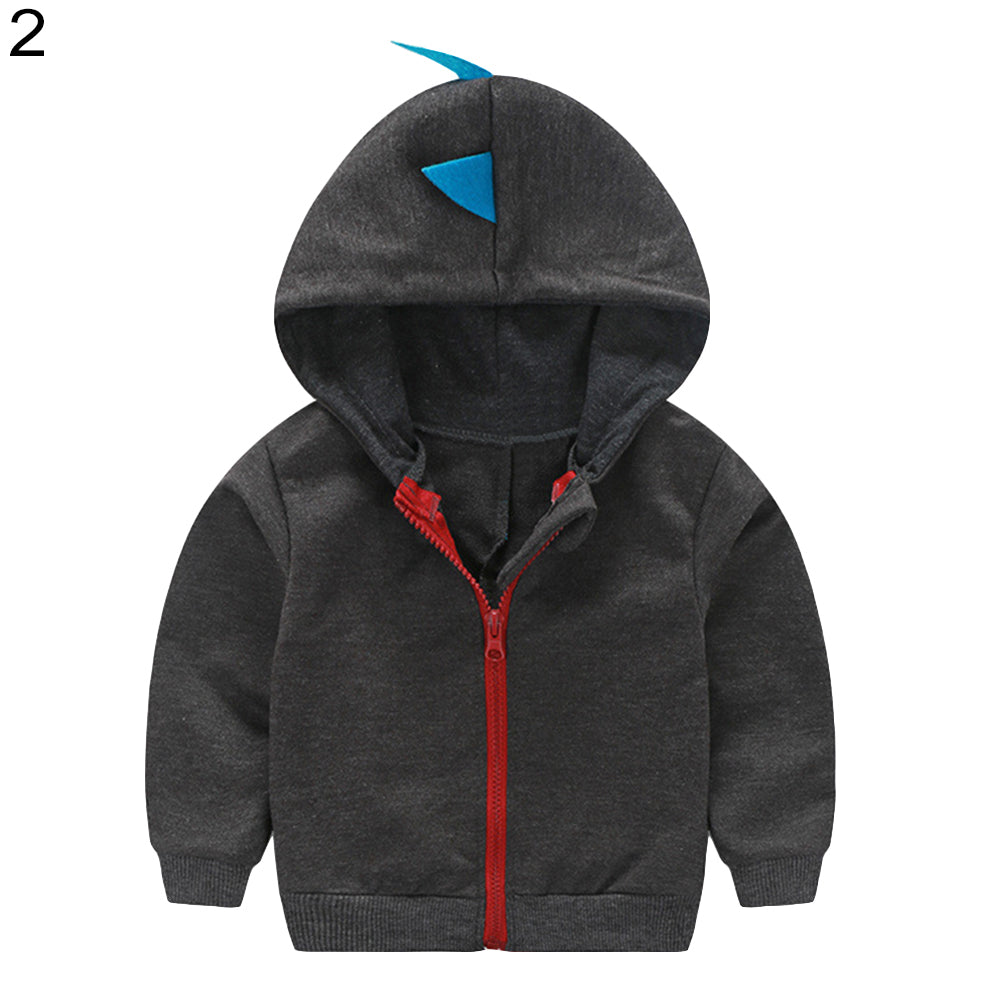 Fashion Toddler Baby Boy Dinosaur Hooded Zippered Sweatshirt Coat Jacket Top - shopbabyitems