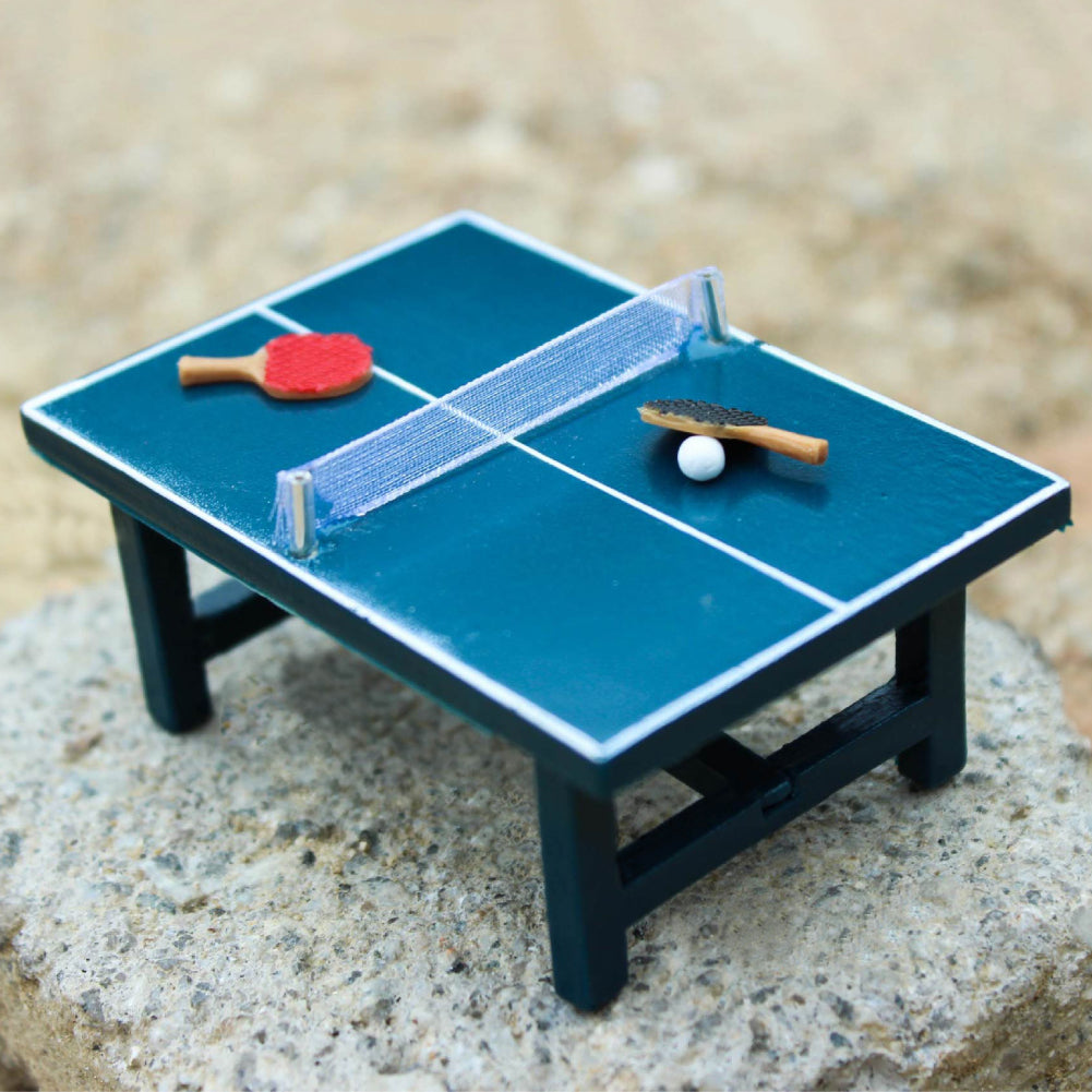 Children Gift 1:12 Dollhouse Miniature Table Tennis Set Realistic Wooden Toy - shopbabyitems