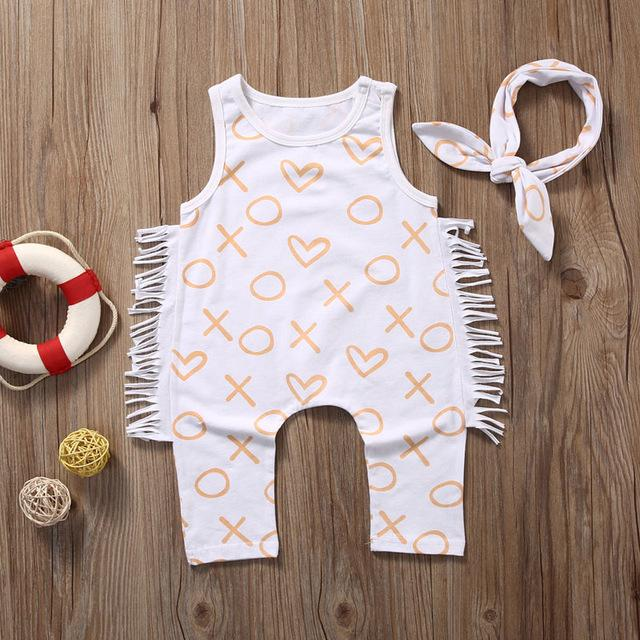 XOXO Heart Print Sleeveless Tassel Romper + Headband 2pc set - shopbabyitems