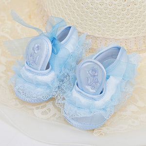 Baby Toddler Girl Anti-skip Shoes with Lace Flowers Footwear Prewalker 0-18M - shopbabyitems