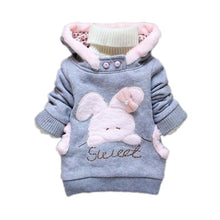 Load image into Gallery viewer, Child Cartoon Rabbit Fleece Outerwear Girl Fashion Sweatshirt Hooded Winter Coat - shopbabyitems