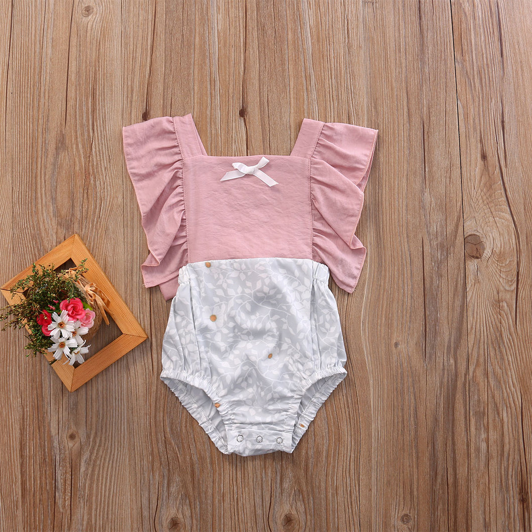 Camellia Ruffles Romper | Infant Baby Girls Floral Patchwork Romper Back Cross Jumpsuit Playsuit Clothes Outfits 0-24M - shopbabyitems