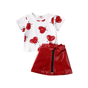 Valentine Clothes Love printed T-shirt Top + Knot-Bow Leather Skirt 2pcs Set Spring Outfits - shopbabyitems