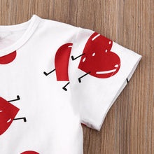 Load image into Gallery viewer, Valentine Clothes Love printed T-shirt Top + Knot-Bow Leather Skirt 2pcs Set Spring Outfits - shopbabyitems