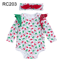 Load image into Gallery viewer, Baby Girl Cute Christmas Santa Claus Moose Lace Long Sleeve Romper with Headband - shopbabyitems