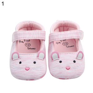 Lovely Cat Mouse Embroidery Magic Tape Anti-Slip Cotton Infant Baby Girl Shoes - shopbabyitems