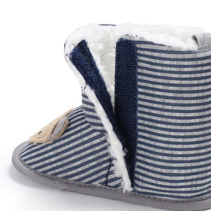Stripe Bear Design Baby Boys Girls Soft Warm Cotton Winter Boots Toddler Shoes - shopbabyitems