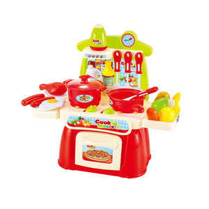 22Pcs Pretend Playset Mini Kitchen Cookware Food with Sound Light Kid's Toy - shopbabyitems