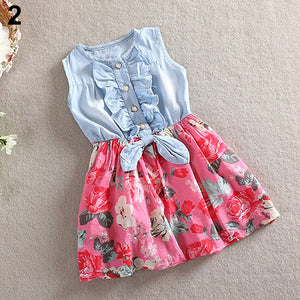 Baby Girl's Fashion Floral Dress Kids Summer Sleeveless Denim Top Stitching Skirt - shopbabyitems