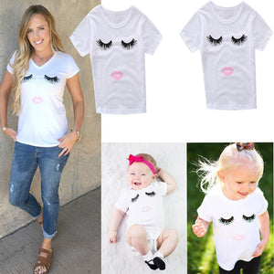 Mother Daughter Cute Top Tee Summer Short Sleeve T-shirt Family Matching Clothes - shopbabyitems