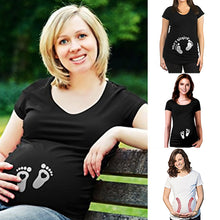 Load image into Gallery viewer, Pregnant Woman Cotton Heart Footprint Printing Short Sleeve T-shirts Casual Top - shopbabyitems
