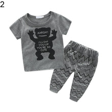 Load image into Gallery viewer, Newborn Baby Boy Summer Short Sleeve T-Shirt Cartoon Top + Long Pants Outfit Set - shopbabyitems