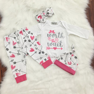 Baby Girls Fashion Letter Print Romper + Long Pants + Cap + Headband Outfit Set - shopbabyitems