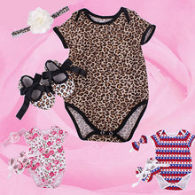Load image into Gallery viewer, 3Pcs Newborn Baby Floral Leopard Star Romper Bodysuit Headband Shoes Set - shopbabyitems