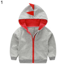 Load image into Gallery viewer, Fashion Toddler Baby Boy Dinosaur Hooded Zippered Sweatshirt Coat Jacket Top - shopbabyitems