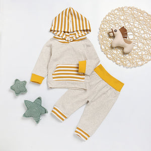 Fashion Baby Boys Long Sleeve Stripe Hooded Top T-shirt Pants Outfit Clothes Set - shopbabyitems