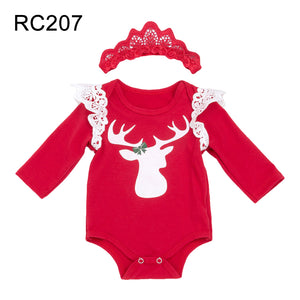 Baby Girl Cute Christmas Santa Claus Moose Lace Long Sleeve Romper with Headband - shopbabyitems