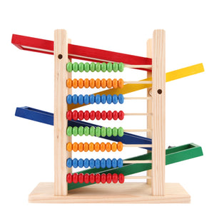 Baby Montessori Educational Wooden Toy Abacus Slippery Car Toys - shopbabyitems