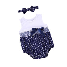 Load image into Gallery viewer, 2Pcs Dot Bowknot Sleeveless Romper Baby Girl's Summer Lace Jumpsuit Headband - shopbabyitems