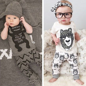 Newborn Baby Boy Summer Short Sleeve T-Shirt Cartoon Top + Long Pants Outfit Set - shopbabyitems