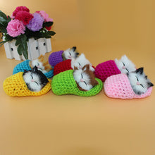 Load image into Gallery viewer, Cute Sleeping Cat Slippers Sounding Simulation Plush Animal Toy Decor Kids Gift - shopbabyitems
