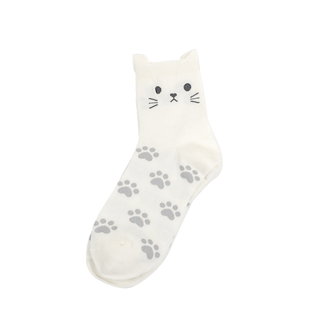 Lovely Candy Color Cartoon Cat Paw Print Women Cotton Soft Warm Short Socks - shopbabyitems