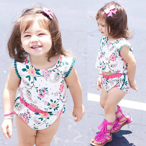 Baby Girl Summer Flower Top Short Sleeve T-shirt Floral Shorts Pants Set Gift - shopbabyitems