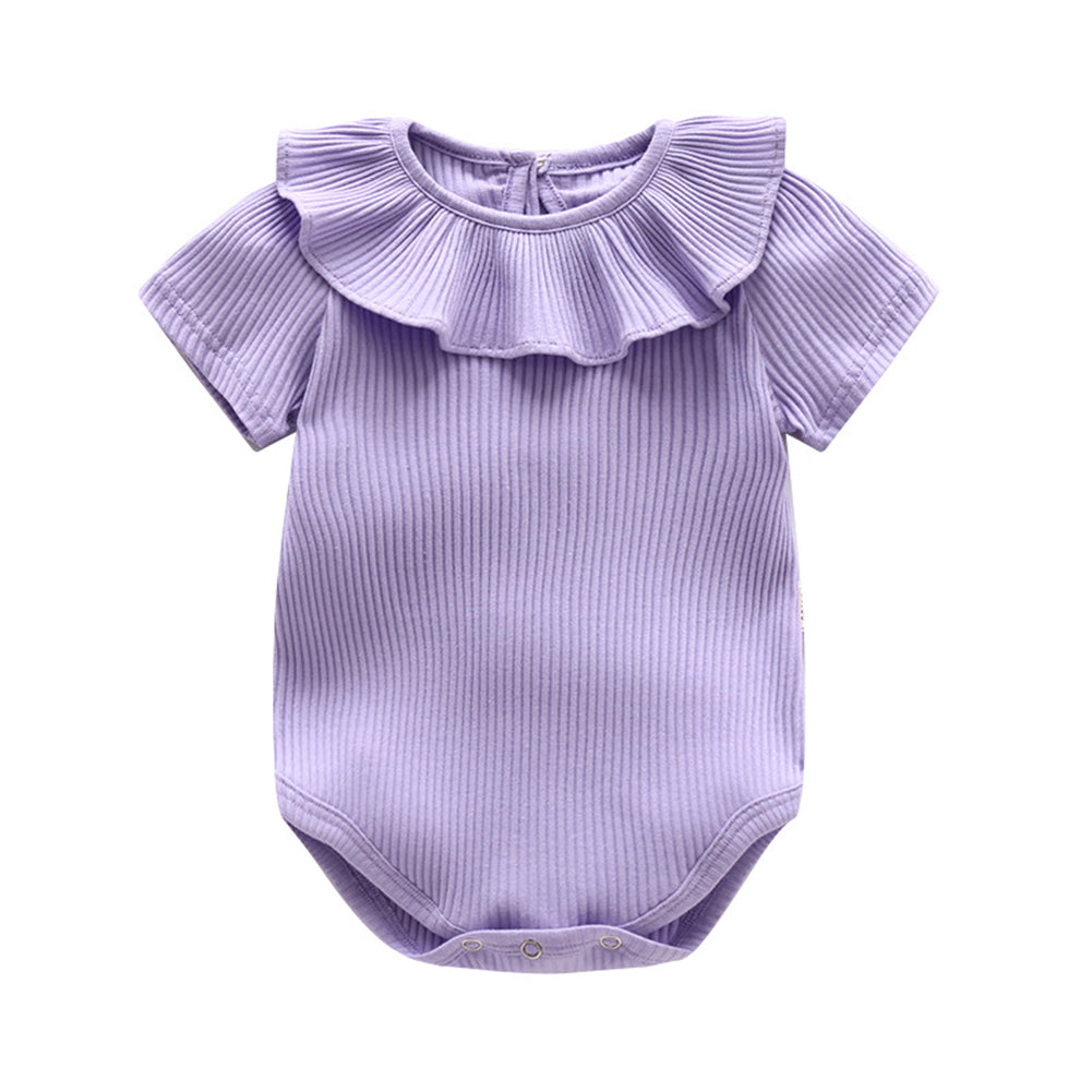 Infant Baby Girl Knitted Romper Summer Short Sleeve Ruffled Candy Color Jumpsuit - shopbabyitems