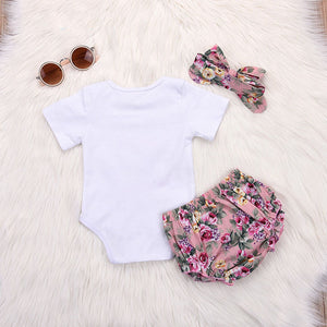 Baby Bodysuits+Floral PP Shorts+Headband Infant Outfits - shopbabyitems