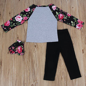 Baby Kids Girls Letters Floral Long Sleeve Autumn Pullover Pants Headband Outfit - shopbabyitems