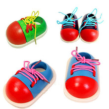 Load image into Gallery viewer, Wooden Toy Shoelaces Shoes Lacing Tie Learning Preschool Skills Development Tool - shopbabyitems