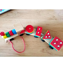 Load image into Gallery viewer, Children Early Learning Geometric Shapes Train Sets Three Tractor Carriage Games - shopbabyitems