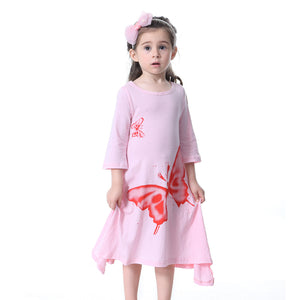 Toddler Baby Girls Long Sleeve Elegant Butterfly Loose Casual Dress Kids Clothes - shopbabyitems