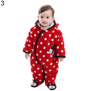 Newborn Baby Girl Boy Winter Warm Romper Cartoon Animal Infant Clothes Jumpsuit - shopbabyitems