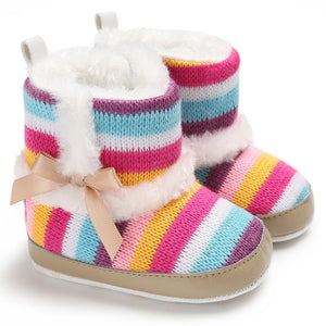 Baby Girl Rainbow Stripe Coral Fleece Snow Boots Bowknot Anti-slip Sole Shoes - shopbabyitems