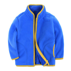 Fashion Children Boy Girl Zippered Stand-up Collar Warm Fleece Coat Jacket Top - shopbabyitems
