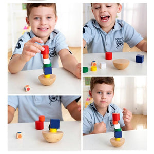 8PCS Wooden Geometric Blocks Kids Balancing Training Game Montessori Early Educational Fun Toys Children Baby Family Game Gifts - shopbabyitems
