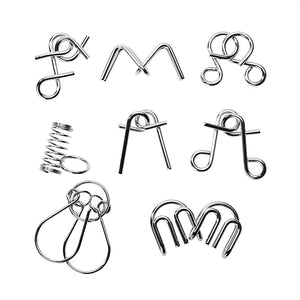 8pcs/Set Materials Metal Montessori Puzzle Wire IQ Mind Brain Teaser Puzzles - shopbabyitems