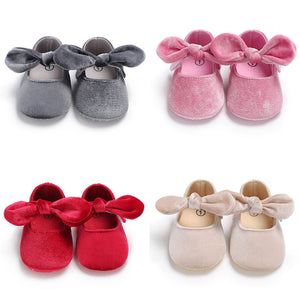 Cute Baby Girls Princess Bowknot Solid Color Soft Sole Shoes Prewalker Footwear - shopbabyitems