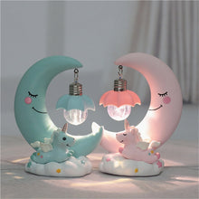 Load image into Gallery viewer, LED Night Light resin Moon Unicorn Cartoon Baby Nursery Lamp - shopbabyitems