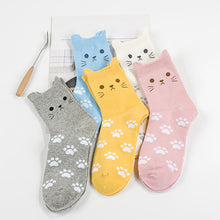 Load image into Gallery viewer, Lovely Candy Color Cartoon Cat Paw Print Women Cotton Soft Warm Short Socks - shopbabyitems