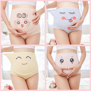 Adjustable Pregnant Women Panties Belly Support Cartoon Expression Underwear - shopbabyitems