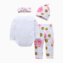 Load image into Gallery viewer, Baby Girls Fashion Autumn Flowers Printed Romper Pants Beanie Headband Outfits - shopbabyitems