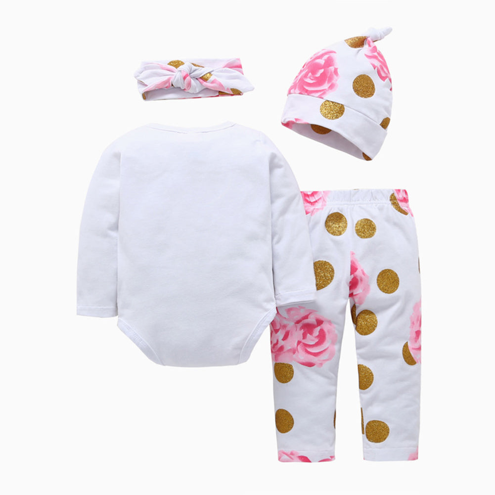 Baby Girls Fashion Autumn Flowers Printed Romper Pants Beanie Headband Outfits - shopbabyitems