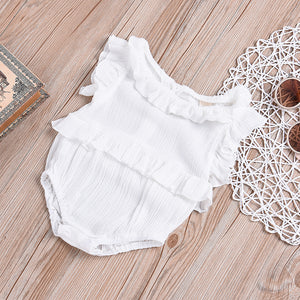 Newborn Baby Girls Summer Sleeveless Ruffles Romper Jumpsuit Bodysuit Clothes - shopbabyitems