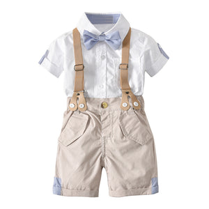 Fashion Baby Boy Kids Bow Tie Short Sleeve Knee Length Suspender Pants Shirt Set - shopbabyitems