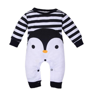 Fashion Infant Baby Boy Girl Penguin Print Long Sleeve Romper Jumpsuit Warm Gift - shopbabyitems