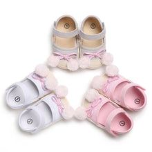 Load image into Gallery viewer, Baby Girls Summer Autumn Cute Bowknot Pompom Soft Sole Crib Shoes Prewalker - shopbabyitems