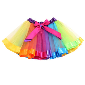 Princess Style Baby Girl Kids Rainbow Bowknot Tulle Tutu Skirt Pettiskirt Dress - shopbabyitems